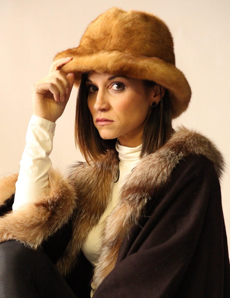 Mink Fur Hat with 3'' Brim