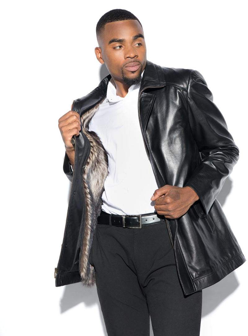 Men's Leather Jacket with Detachable Fur Lining