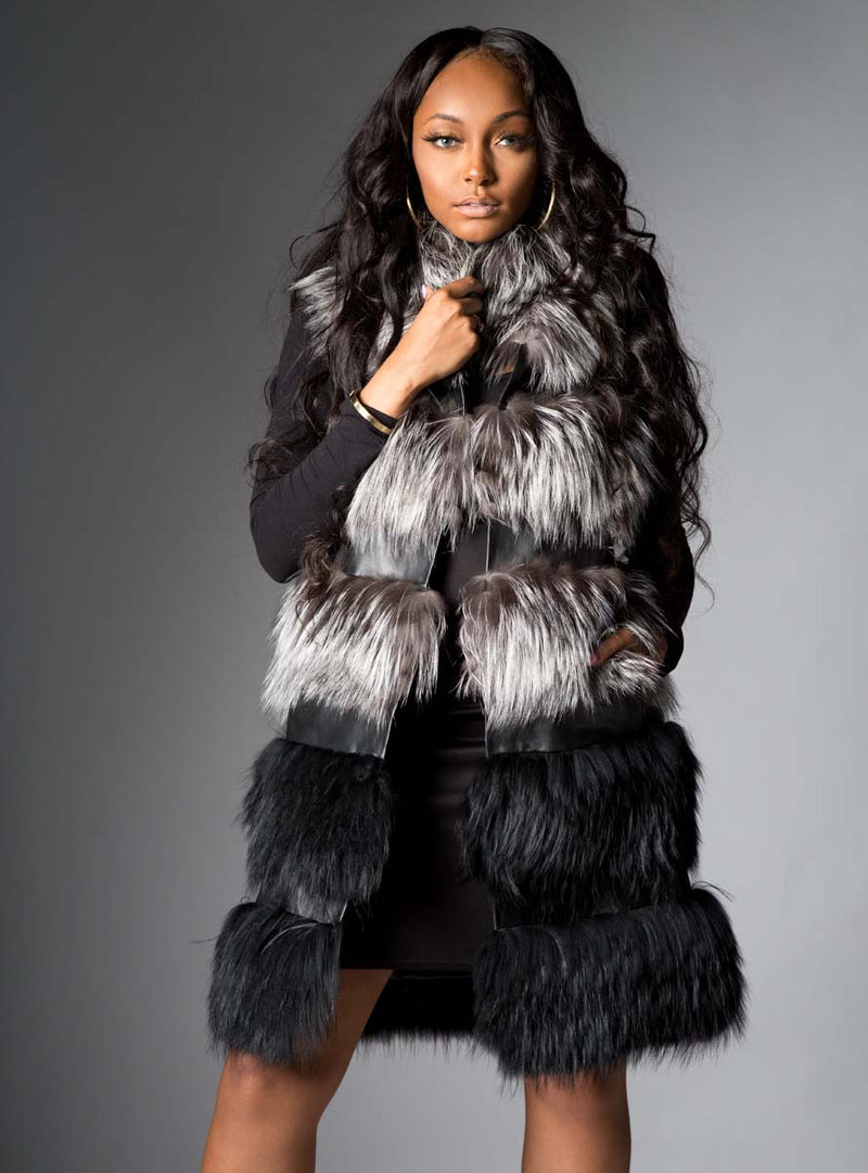 Fox Fur Vest with Leather Trim Inserts