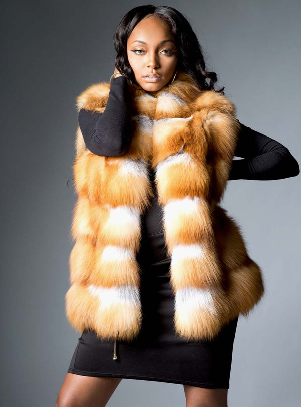 Natural Red Horizontal Fox Fur Vest