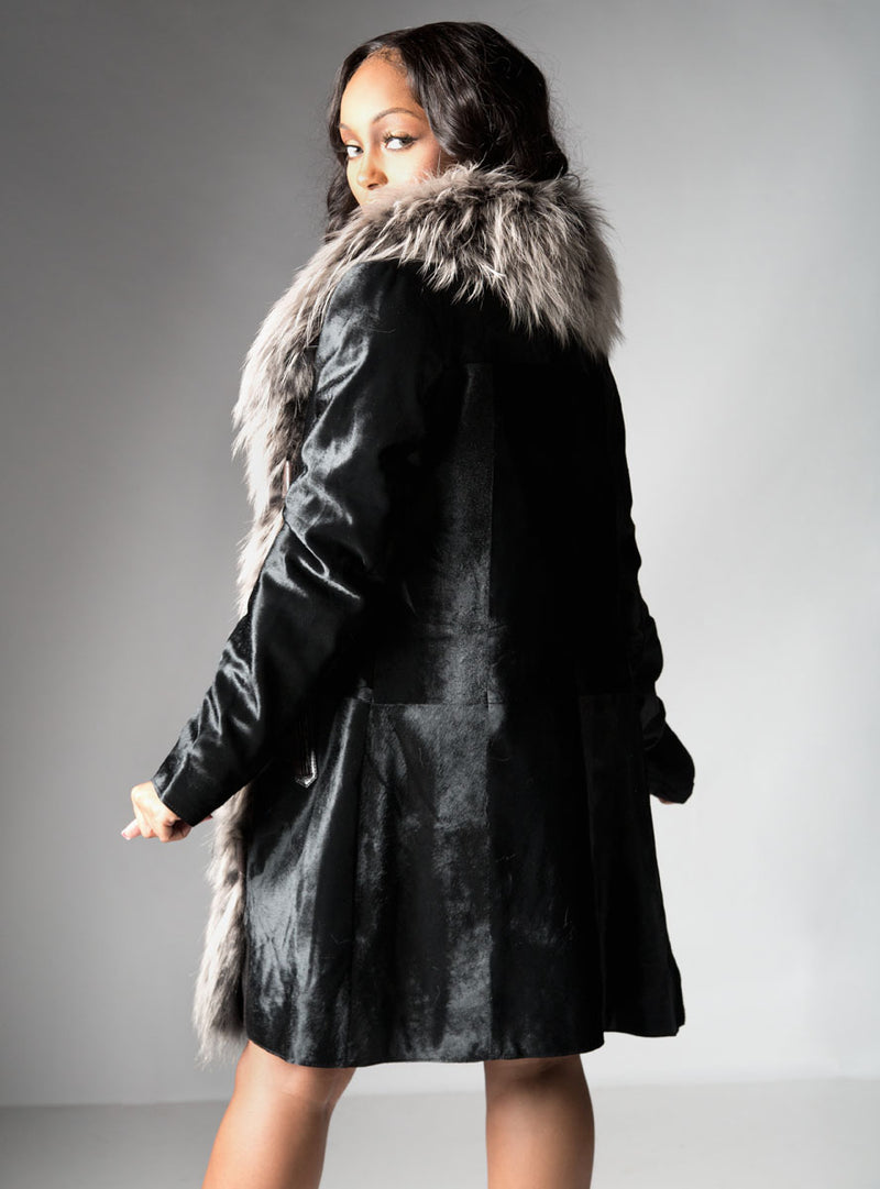 cowhide leather jacket with fox fur tux