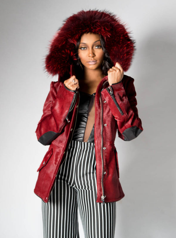 Burgundy Cowhide Leather Jacket with Raccoon Fur Trimmed Hood