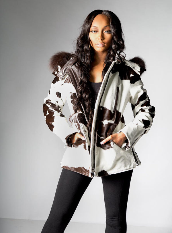 Brown & White Cowhide Leather Jacket with Raccoon Fur Trimmed Hood