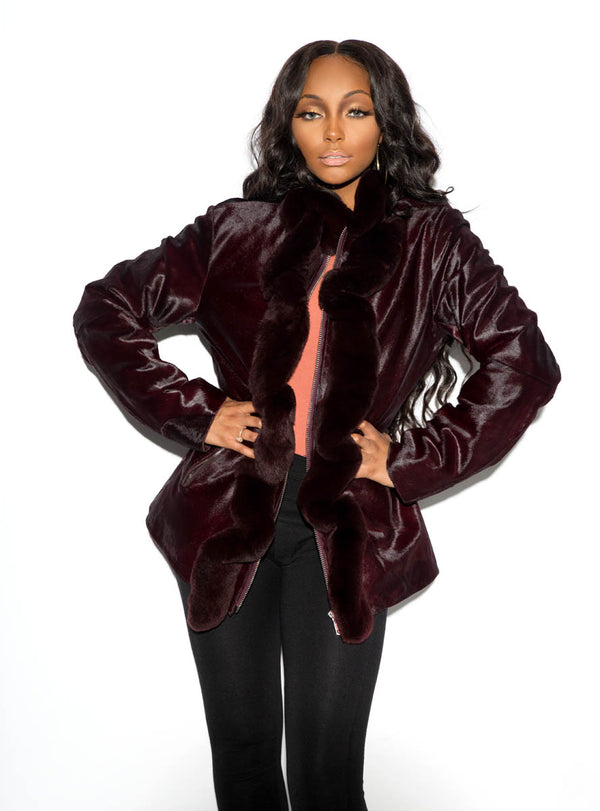 cowhide jacket with rabbit fur ruffle trim