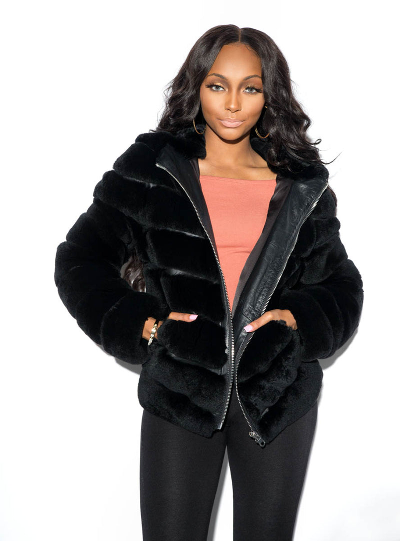 Sheared Rex Rabbit Fur Jacket with Leather Trim Inserts