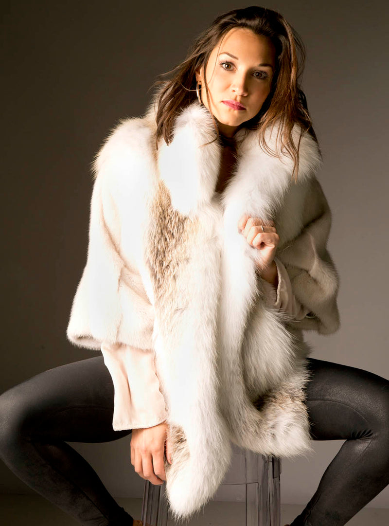 Women's Pearl SAGA Mink Fur Cape with Golden Island Fox Fur Collar, Front & Back