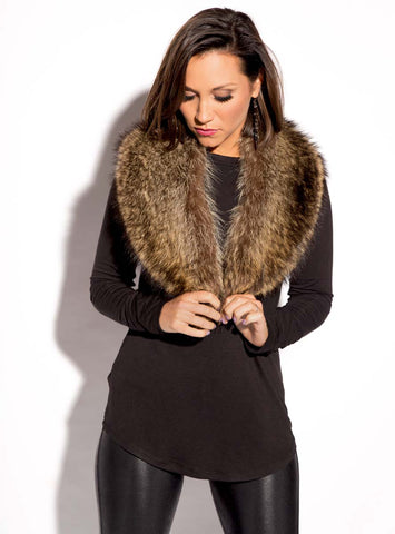 Natural American Raccoon Fur Collar