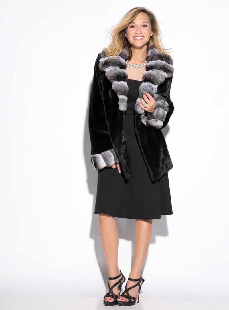 Mink Fur Jacket with Chinchilla Fur Collar and Cuffs