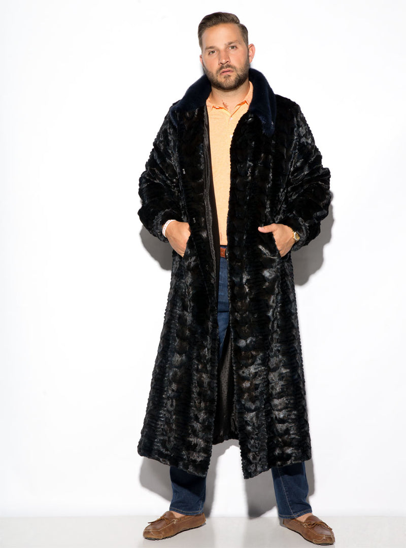 Men's Full Length Sculptured Mink Fur Coat with Full Mink Fur Collar