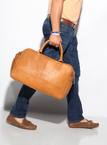 Leather Carry On Travel Bag with Detachable Shoulder Strap