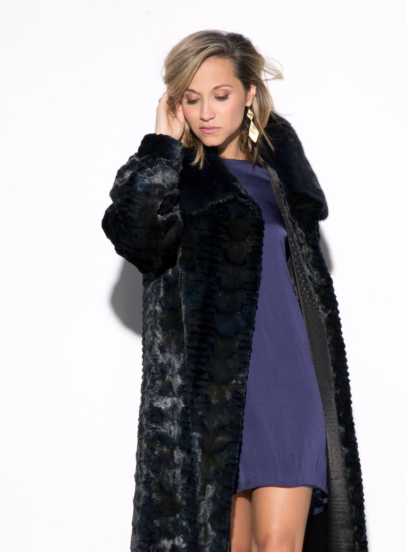 Women's Mink Fur Jacket with Full Mink Fur Collar