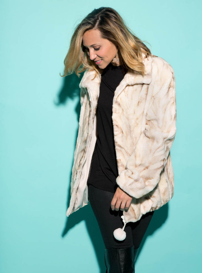 Mink Fur Bomber Jacket with Zip Front