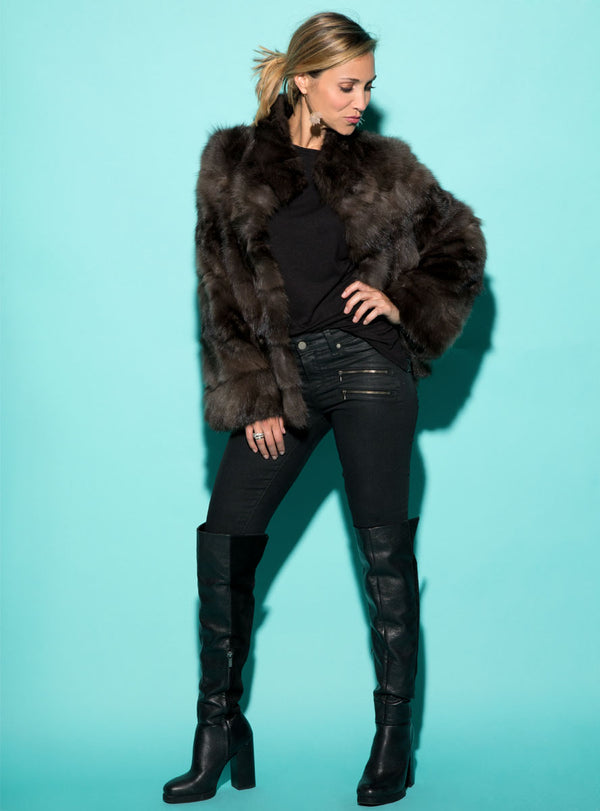 women's sculpted russian sable fur jacket