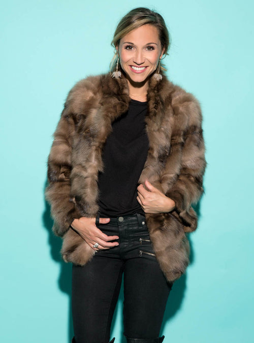 Sculpted Russian Sable Fur Jacket with Wing Collar