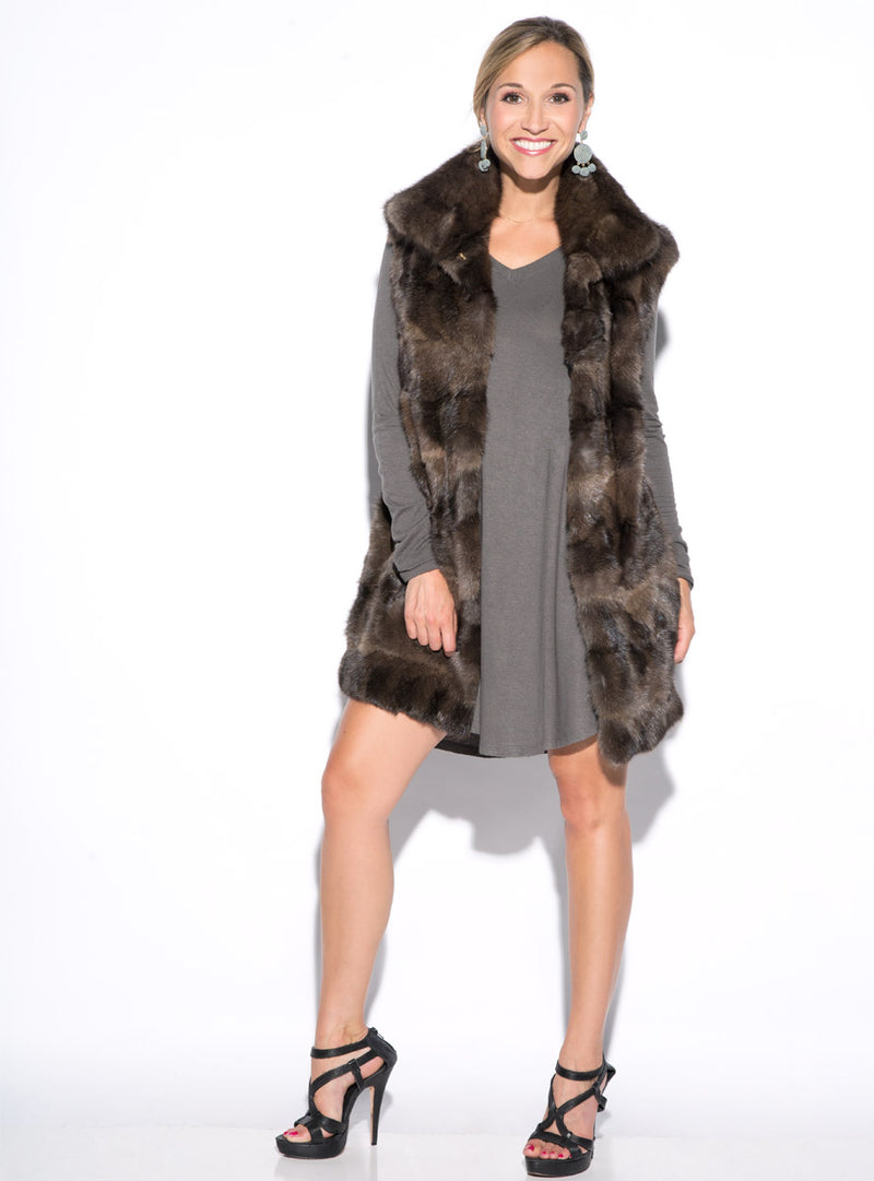 Sculpted Russian Sable Fur Vest with Collar
