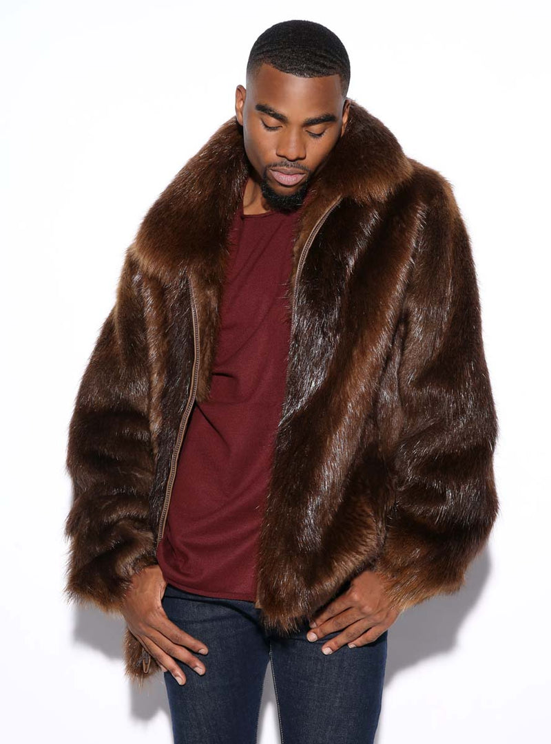 men's custom made beaver fur jacket