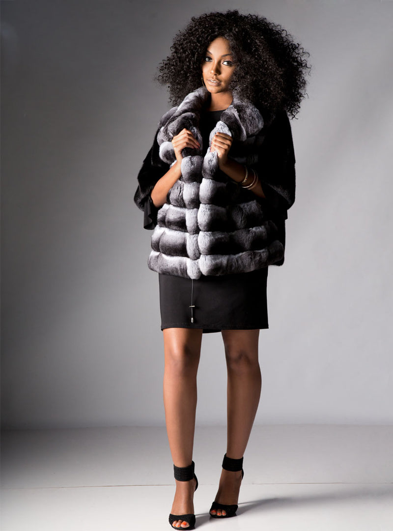 Mink Fur Bolero Jacket with Chinchilla Fur Front
