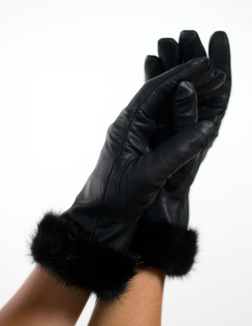 Lamb Leather Gloves with Mink Fur Trim