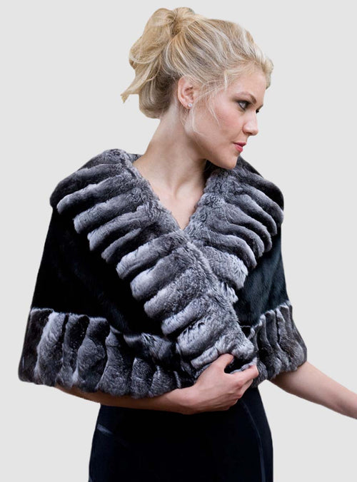 Ranch Mink Fur Cape with Chinchilla Fur Trim