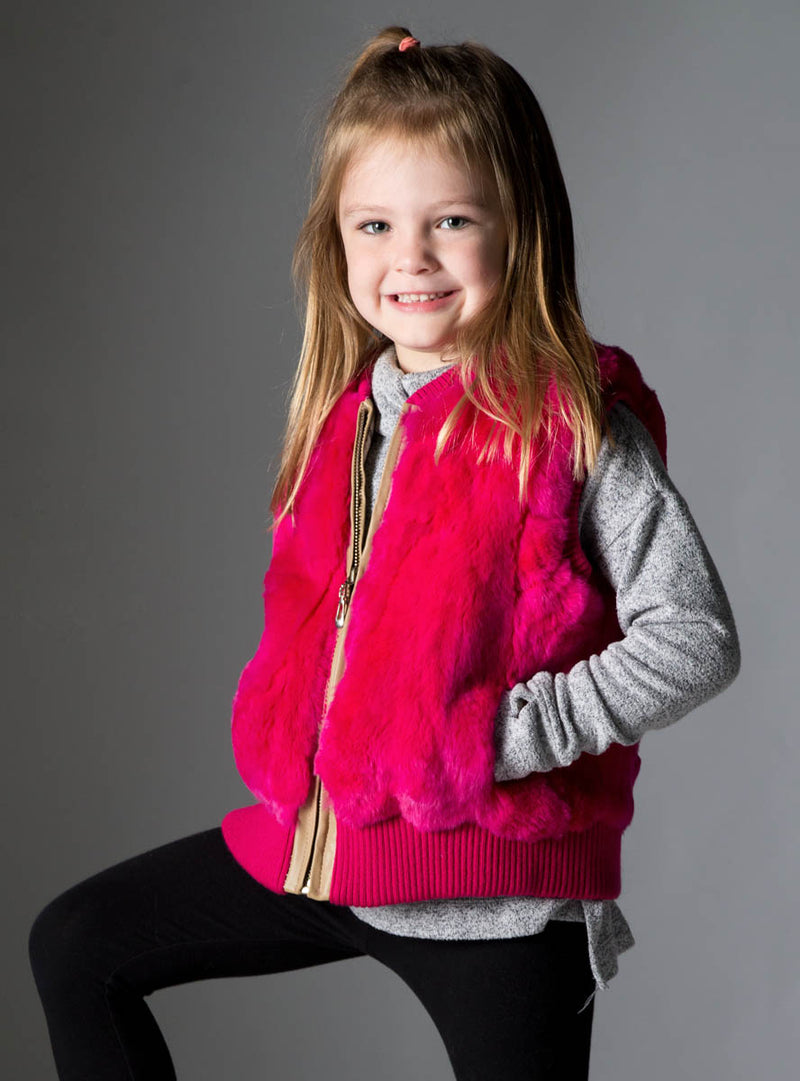 Children's Hot Pink Rabbit Fur Vest