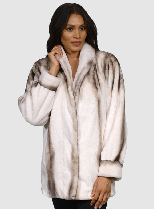 Semi Sheared Mink Fur Jacket with Bracelet Cuffs