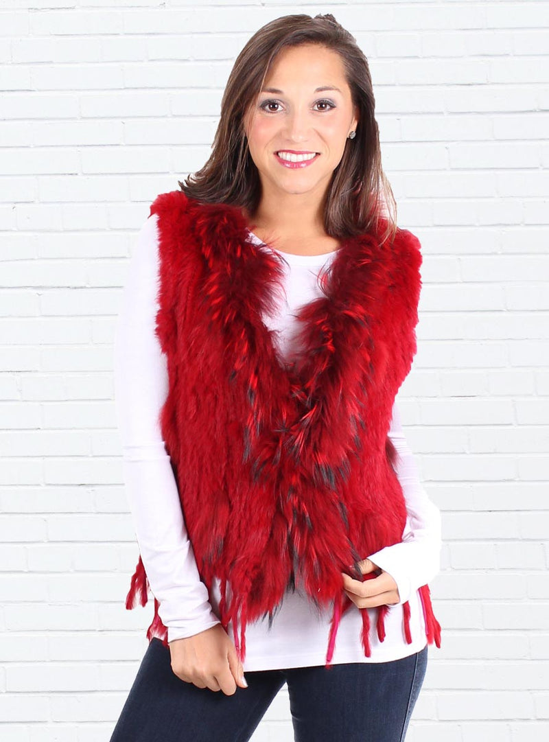 Women's Fur Vest, Knitted Rabbit
