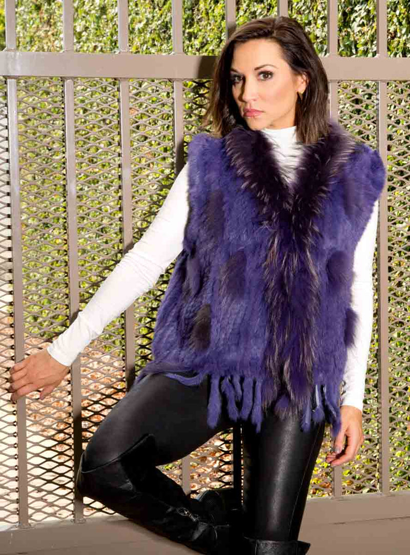 Knitted Rabbit Fur Vest with Raccoon Fur inserts