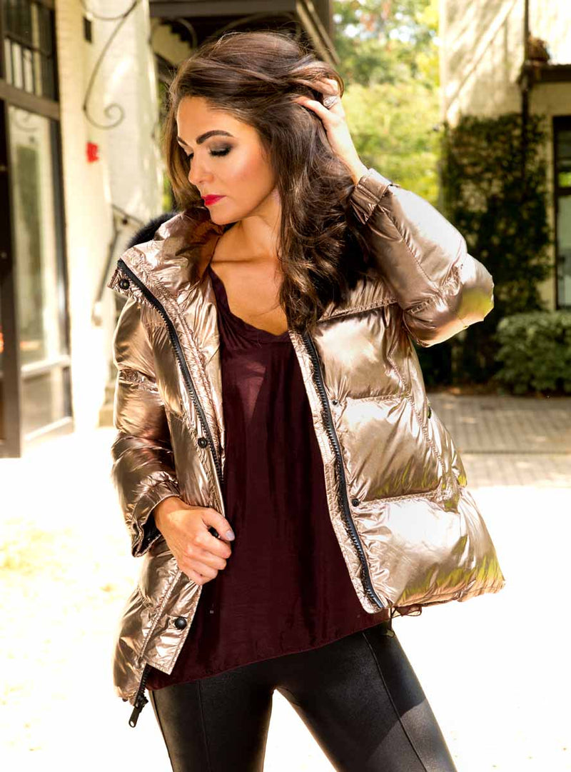 Gold All-Weather Jacket with Fox Fur Trimmed Hood