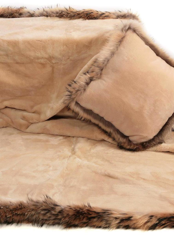 Cream Sheared Beaver Fur Blanket with Crystal Fox Fur Trim