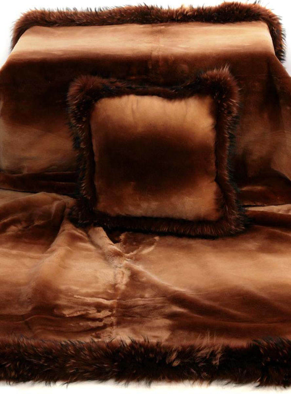 Rust Sheared Beaver Fur Blanket with Rust Fox Fur Trim
