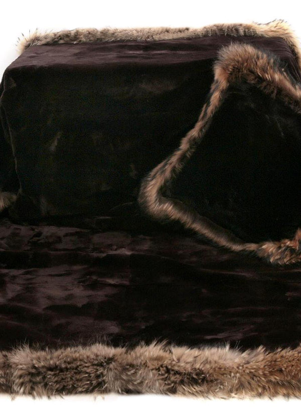 Brown Sheared Beaver Blanket with Crystal Fox Fur Trim