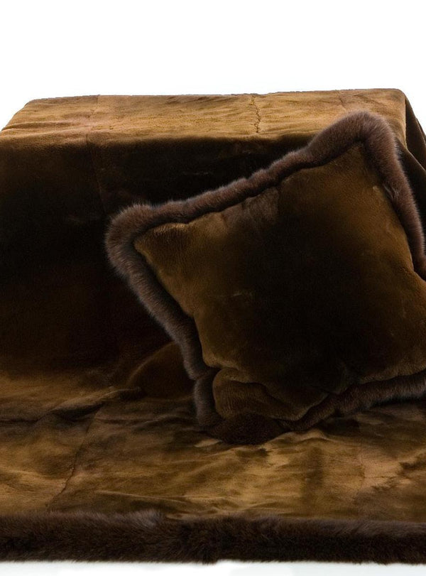 Golden Brown Sheared Beaver Blanket with Brown Fox Fur Trim