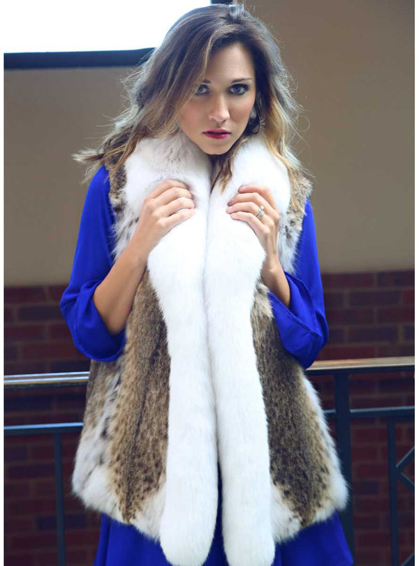 women's bobcat fur vest with shadow fox fur tuxedo collar