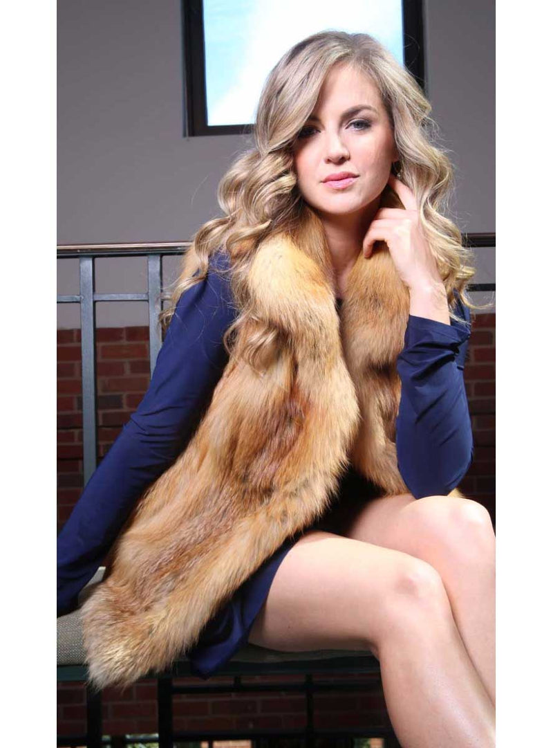 Natural Red Full Skin Fox Fur Vest