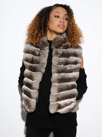 USA Made Beige Chinchilla Fur Vest