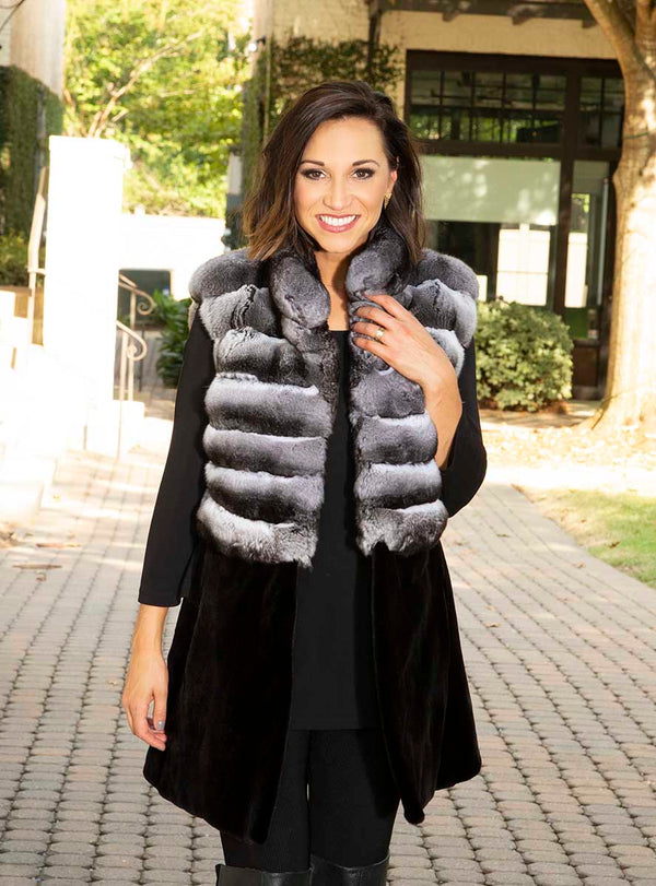 women's chinchilla and sheared mink fur vest