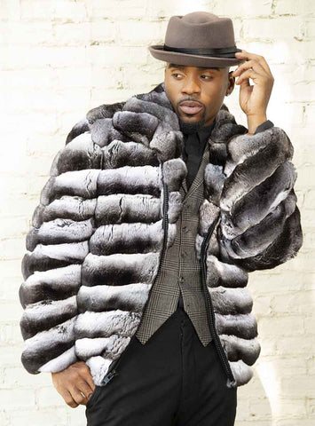 USA Made Men's Chinchilla Fur Jacket