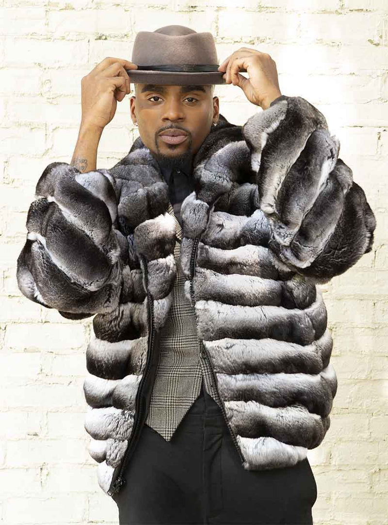 men's chinchilla fur jacket