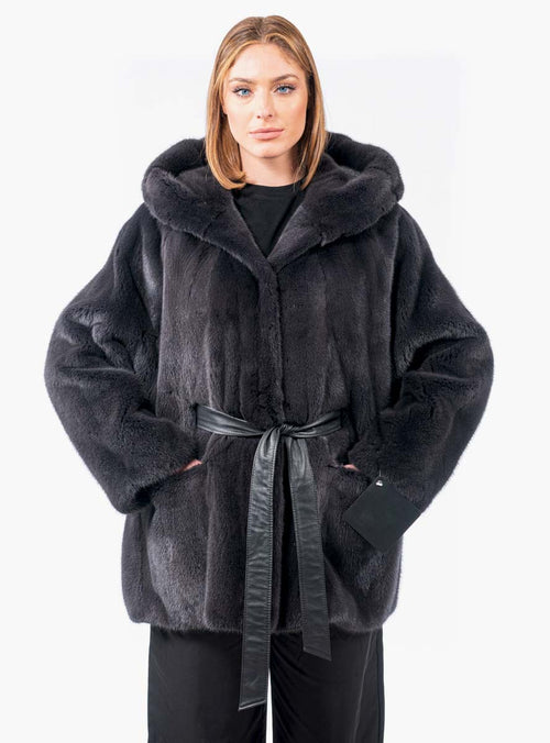 Women's Onyx SAGA Mink Fur Jacket with Detachable Leather Belt & Hood