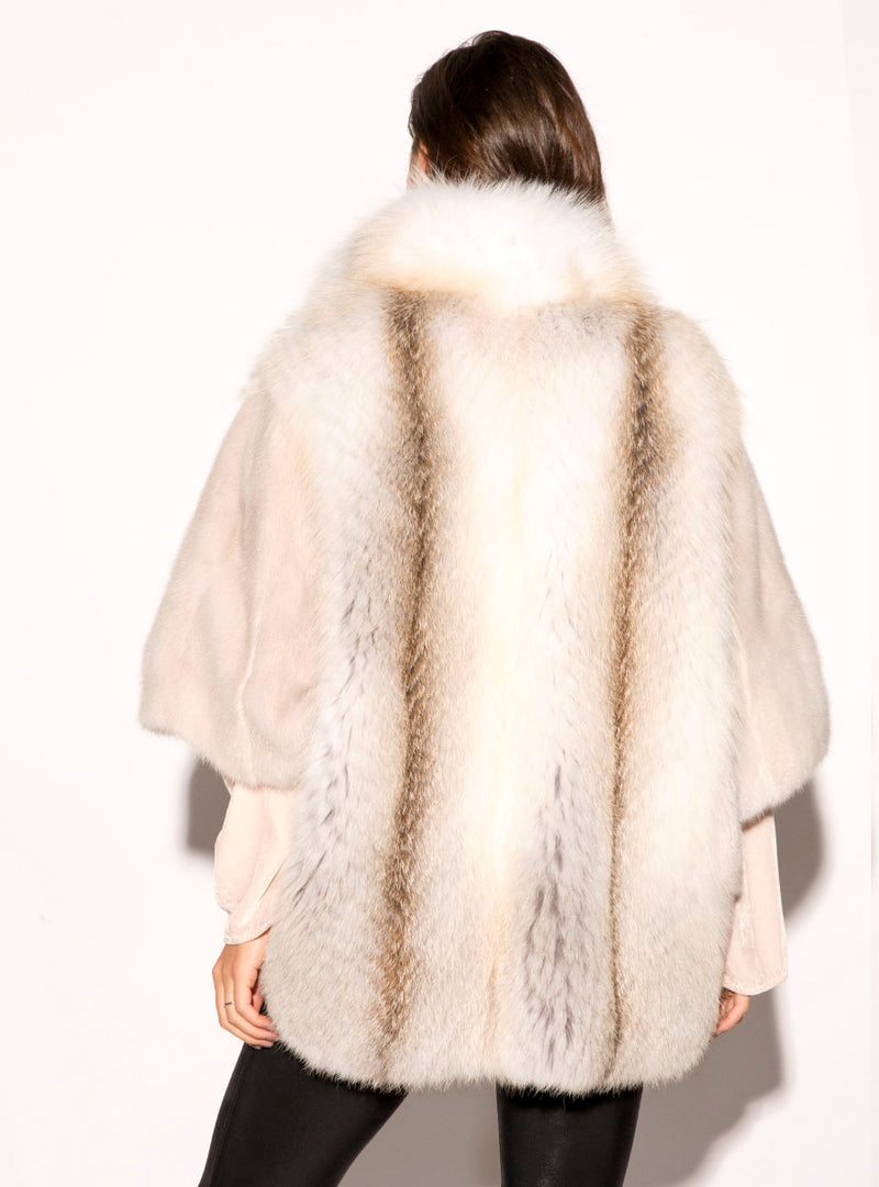 Women's SAGA Mink Fur Cape with Fox Fur