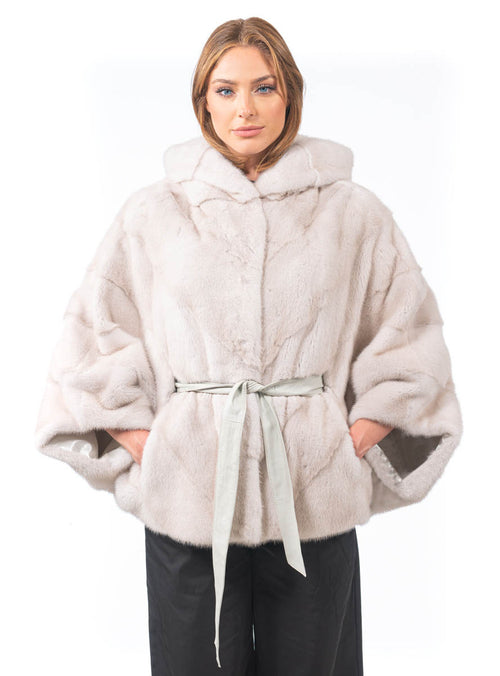 Women's SAGA Mink Fur Cape with Hood and Detachable Belt