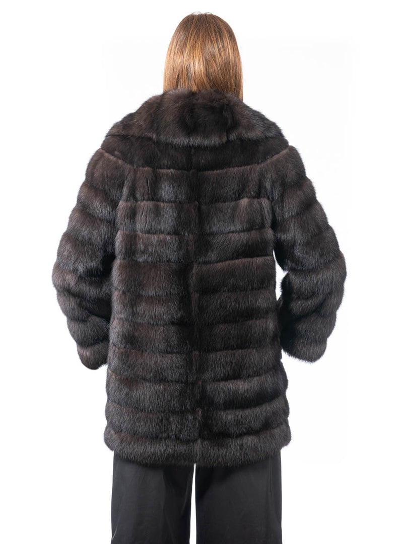 Women's Russian Sable Fur Stroller with Shawl Collar