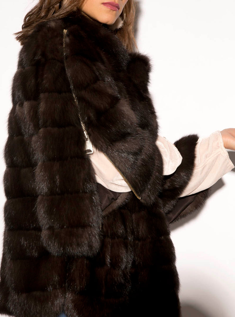 Women's Canadian Sable Fur Jacket with Zip Bell Sleeves
