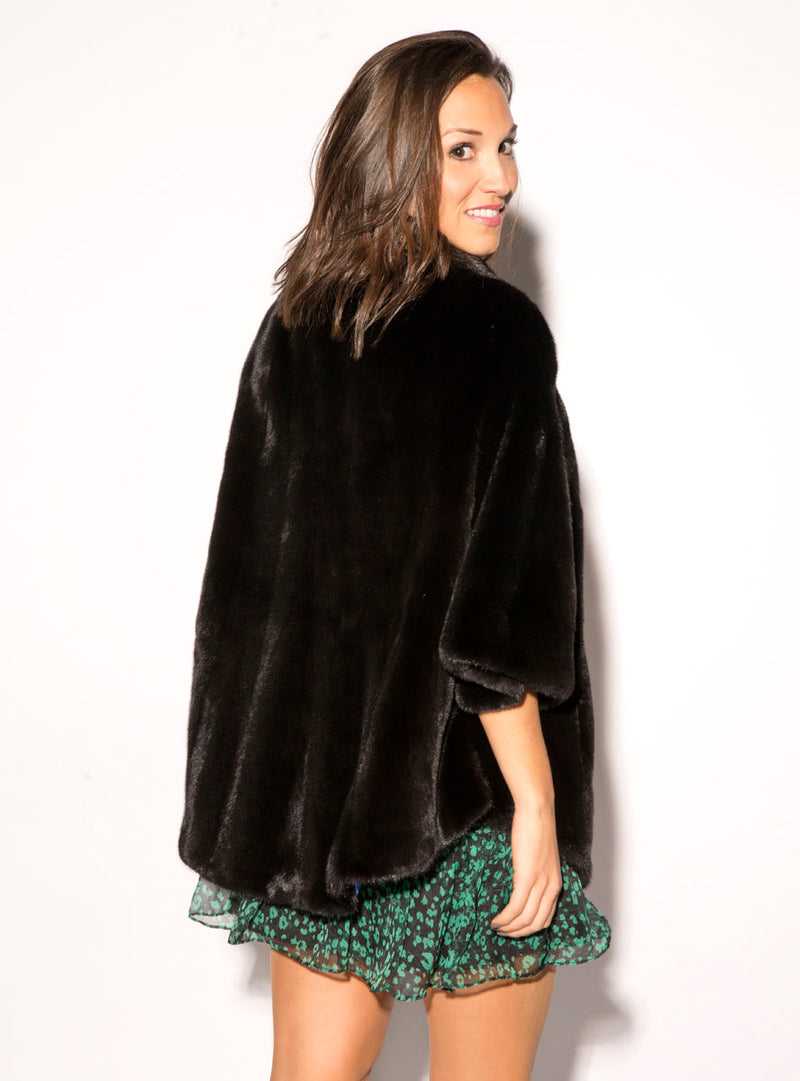Women's Natural Ranch SAGA Mink Fur Cape with Zip Collar