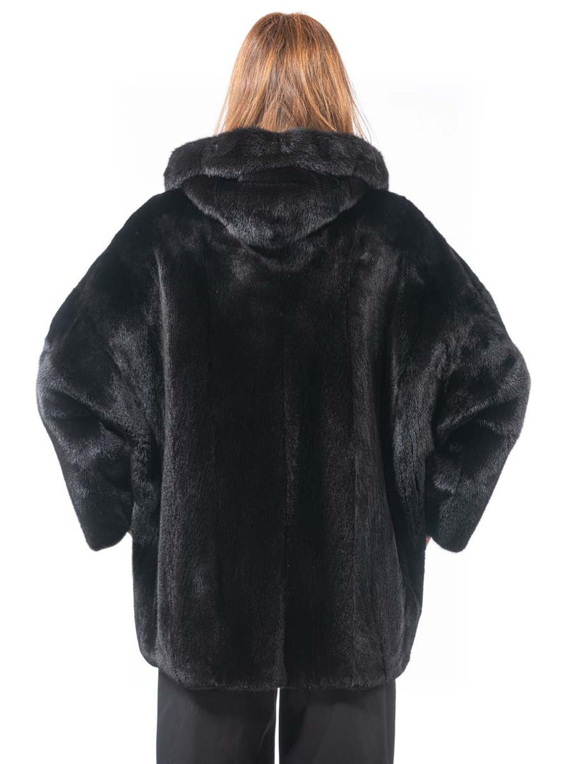Natural Ranch SAGA Mink Fur Jacket with Hood & Zip Front