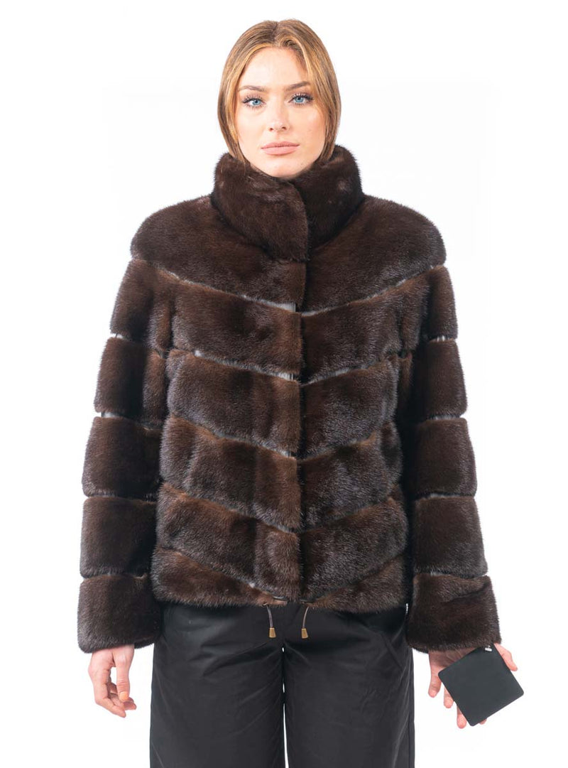 Women's Mahogany SAGA Mink Fur Jacket with Horizontal Pattern