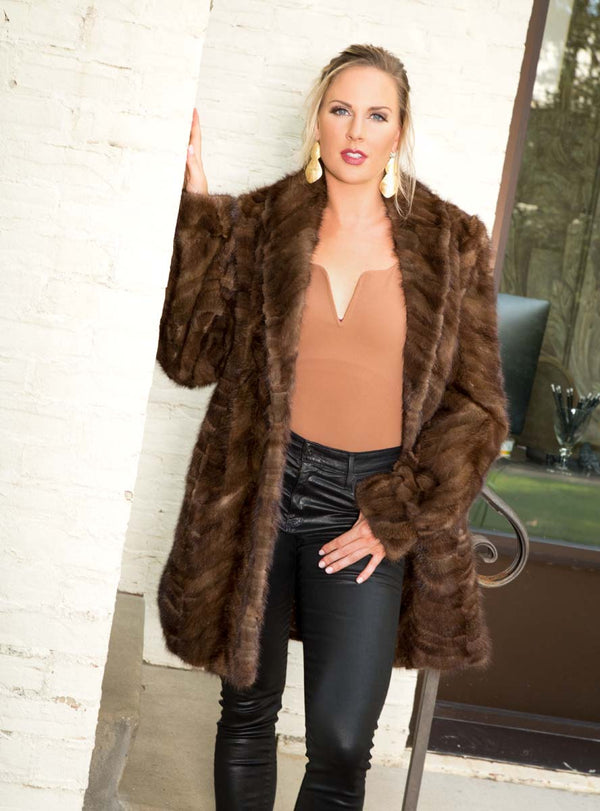 Mink Fur Stroller with Shawl Collar & Bracelet Cuffs