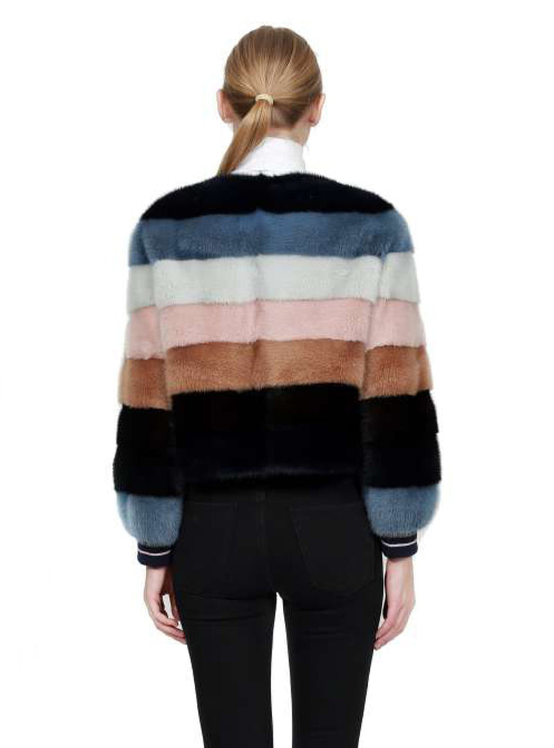 Full Skin Mink Fur Jacket with Horizontal Stripes and Knit Collar & Cuffs