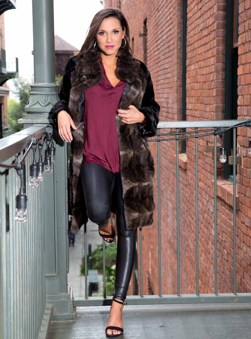women's mink fur coat, sable fur trim