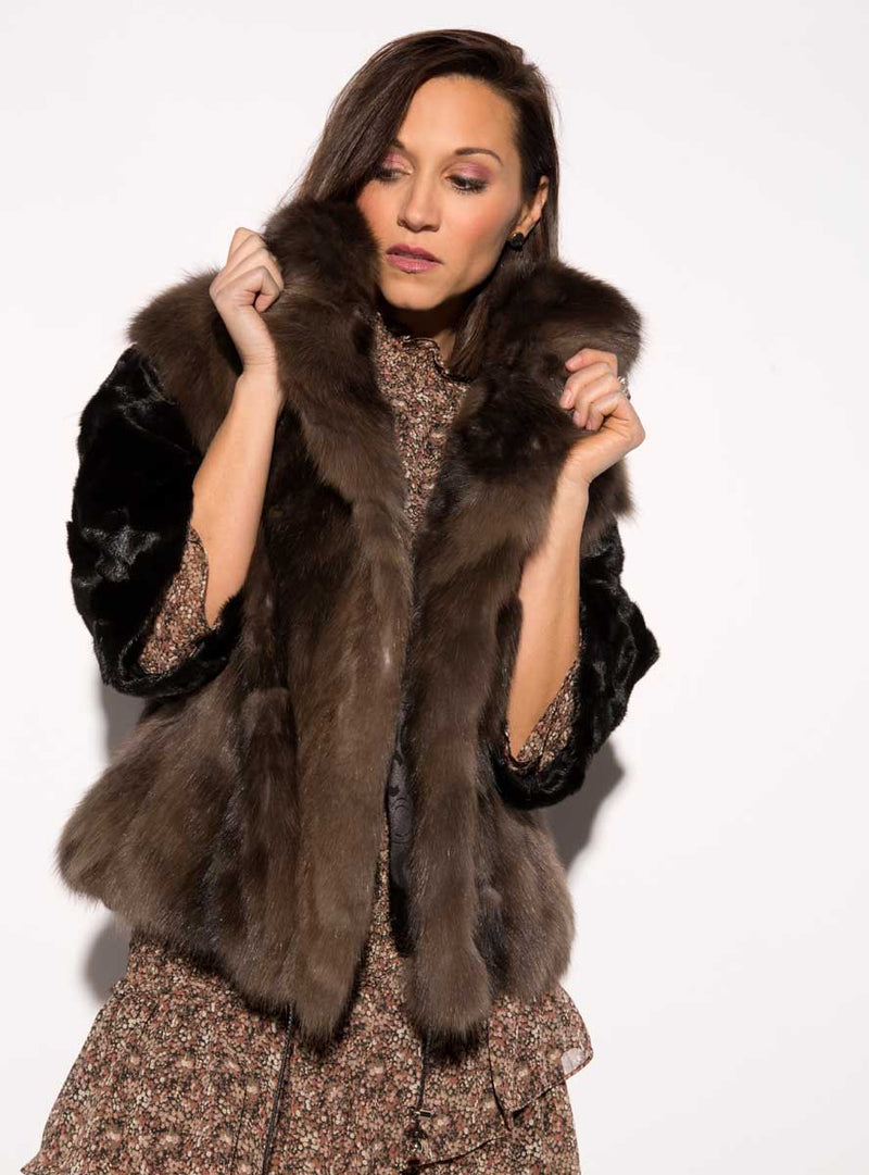 Mink Fur Jacket with Russian Sable Fur Trimmed Front